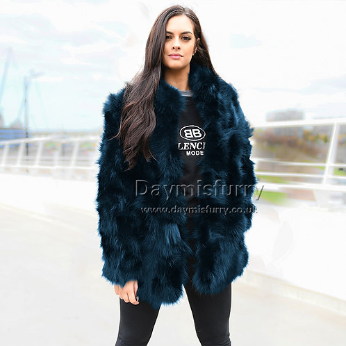 DMGA203B Pieced Raccoon Fur Jacket Coat
