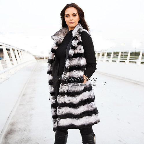 DMGB10 Rex Rabbit Fur Gilet in Chinchilla Print