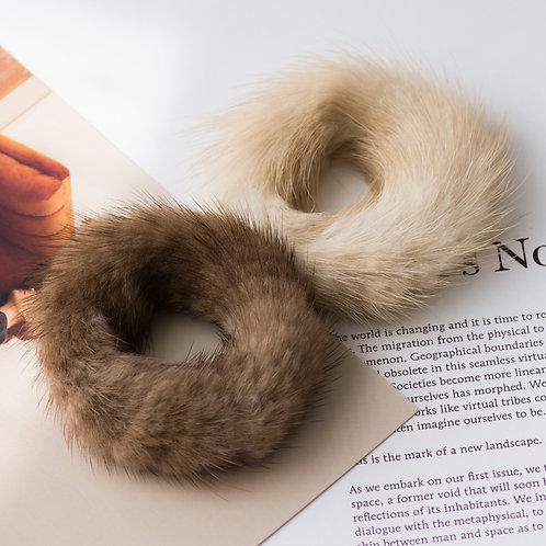 DME11E Mink Fur Hair Bands Scrunchy Hair Rope