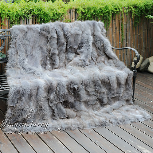 DMD123A Patchwork Fox Fur Blanket / Fur Throw