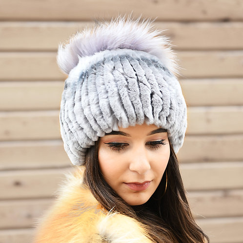 DMC121 Loop Rex Rabbit Fur Hat With With Silver Fox Tufts