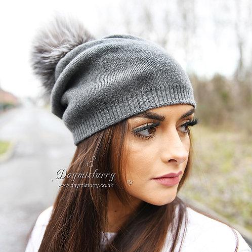 DMC49D  Wool Beanie Hat With Sliver Fox  Fur Pom Pom