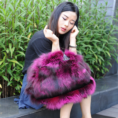 DMH30C Silver Fox Fur Handbag with Leather Accents In Purple