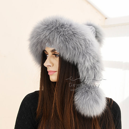 DMC247D  Cashmere Knit Hat  With  Fox Fur Ball and Trim