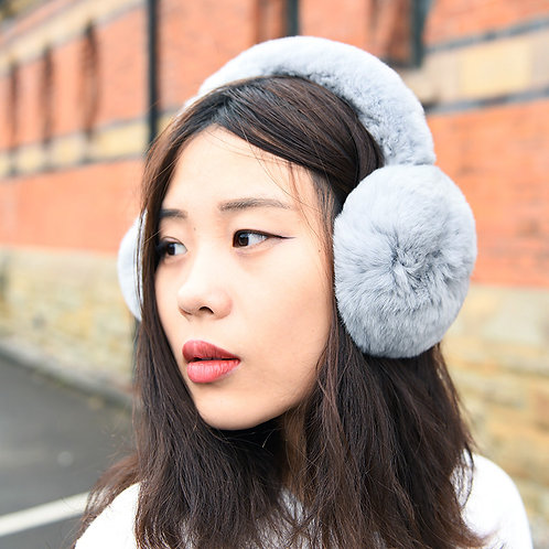 DMA40E Rex Rabbit Fur Earmuffs With Matching Fur Band