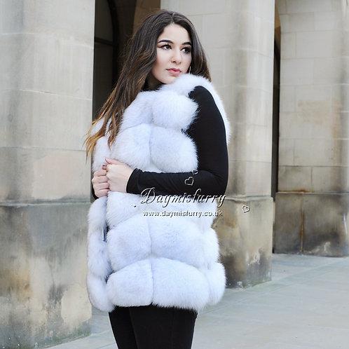 DMGB43 Blue Fox Fur  Gilet - Natural Colour