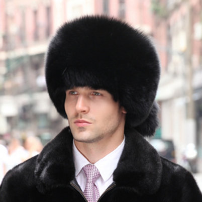 DMC169F  Fox Fur Pill Box Hat With Two Tails In Black