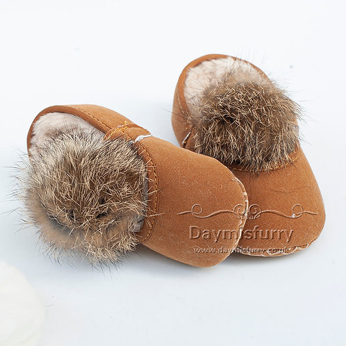 Shoes-10 Cotton Fabric Soft Sole Baby Shoes with Rabbit Fur Ball