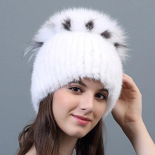 DMC29C Mink Fur Beanie Hat With Fox Top