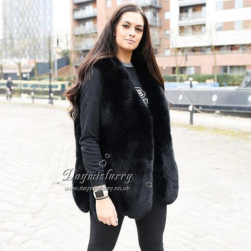 DMGB15K Black Fox Fur Horizontal Design Lady Fur Gilet