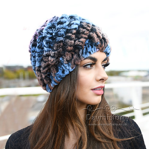 DMC189D Knit Rex Rabbit Fur Beanie Hat