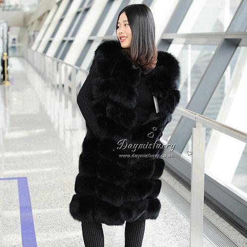 DMGB01 Luxury  Fox Fur Horizontal Fur  Gilet - Black