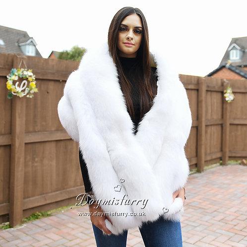 DMB133B   FOX Fur Stole / Bridal Fur Shawl Wrap / Fox Fur Cape