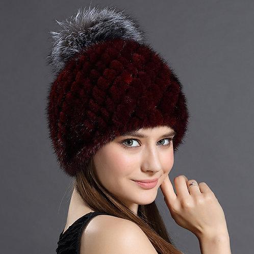 DMC206B  Wine Red Mink Fur Beanie Hat  With Silver Fox Fur Pom