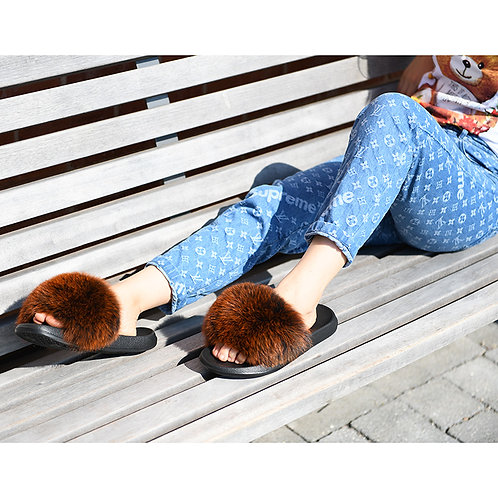 DMA70B Fox Fur Furry Slides In Brown