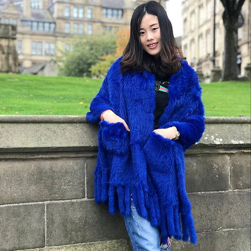 DMB14D Knitted Rabbit Fur Shawl with Fringes