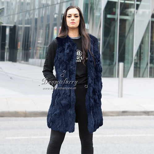 DMGB40D Pieced Rabbit Fur Vest