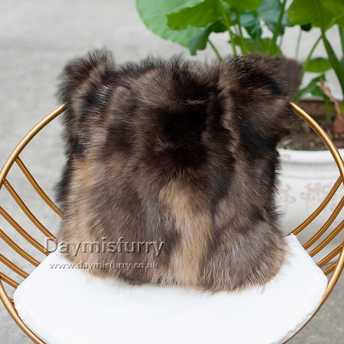 DMD71B PatchWork Raccoon Fur Pillow Case / Cushion Cover - Natural Color