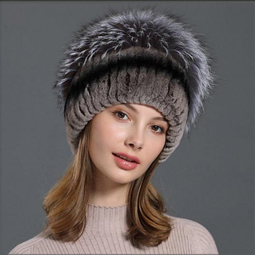 DMC84A  Rex Rabbit Fur Winter Hat With Fox Fur Top