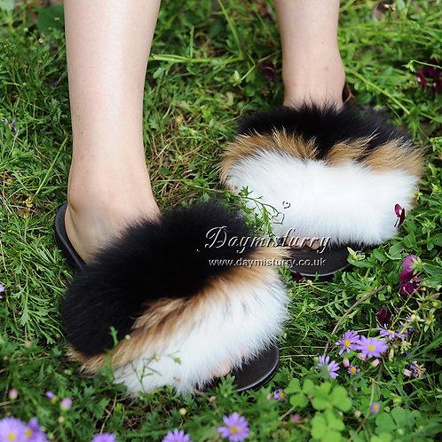 DMA96D Fox Fur Slides - Black Iris