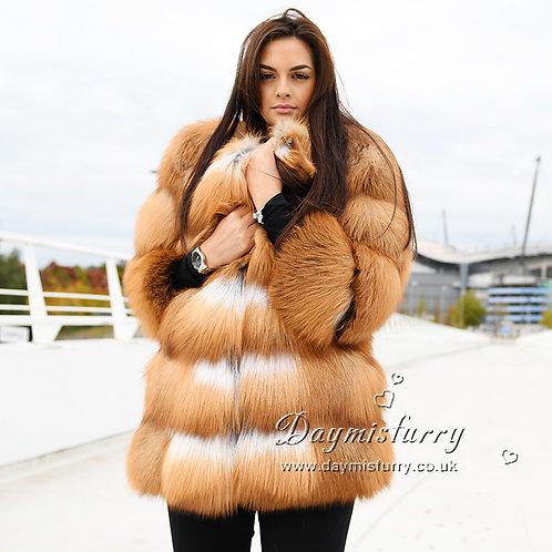 DMGA267 Luxury Red Fox Fur Coat