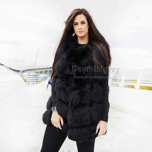 DMGB243G Black Fox Fur Vest