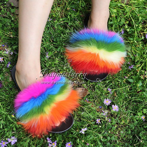 DMA100G Colorful Fox Fur Slides