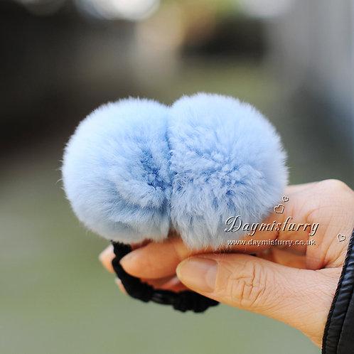 DME21 Double Rex Rabbit Fur Pom Pom Hair Scrunchie