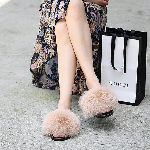 DMA70U Fox Fur Furry Slipper - Maple Sugar