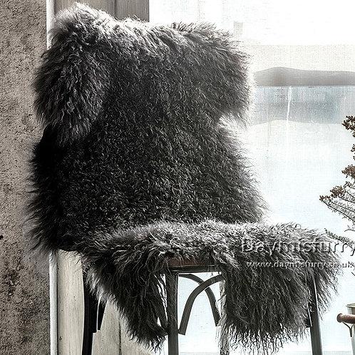 DMD60A Tibetan / Mongolian Lamb Fur Pelt Rug - Black  (Single)