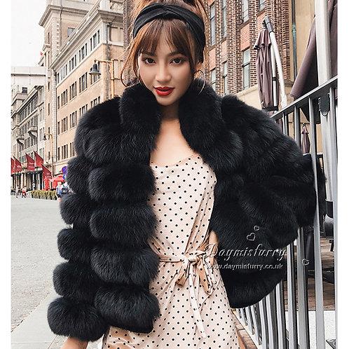 DMGA50A Fox Fur Coat - Black