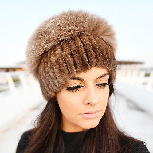 DMC57B  Mink Fur Hat With Fox Fur Top