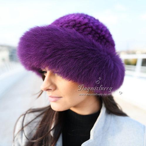 DMC209H  Fox Fur Roller Hat with Mink Top