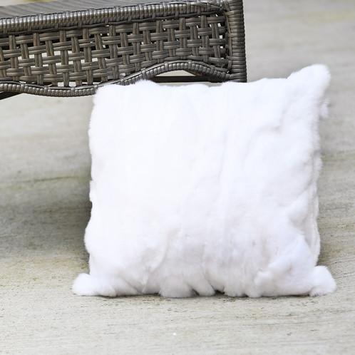 DMD40C Pieced Rex Rabbit Fur Pillow Cover Stunning Rabbit Fur Pillow Cover