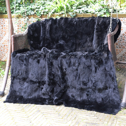 DMD11D Dyed Black Rabbit Fur Blanket / Throw