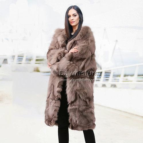 DMGA70A  Cropped Long Fox Fur Jacket