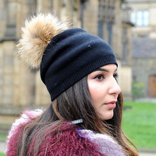 DMC49  Wool Beanie Hat With Raccoon Pom Pom