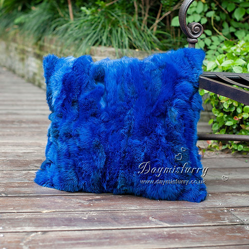 DMD17T Pieced Rabbit Fur Pillow Cover In Royal Blue