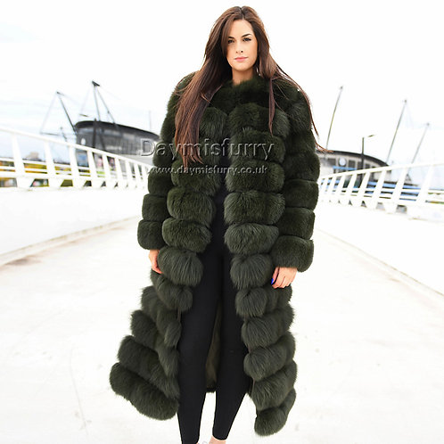 DMGA188 Extremely luxury Fox Horizontal Fur Coat