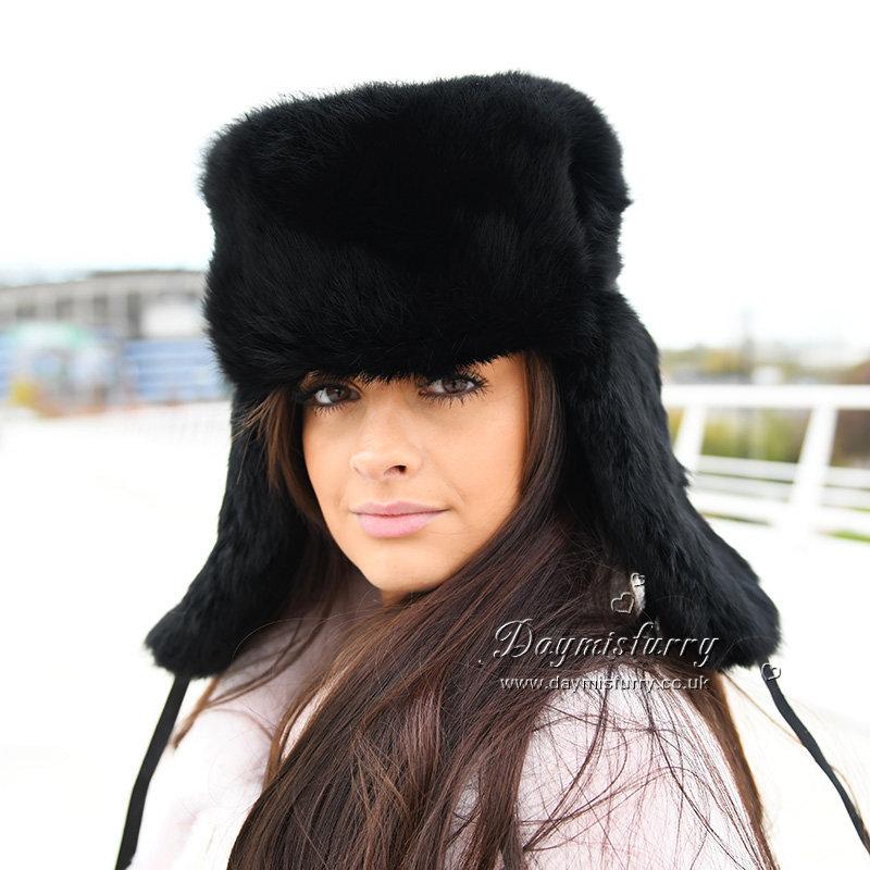 08133eef0b0b3 DMC26C Black Rabbit Fur Russian Ushanka Hat | daymisfurry