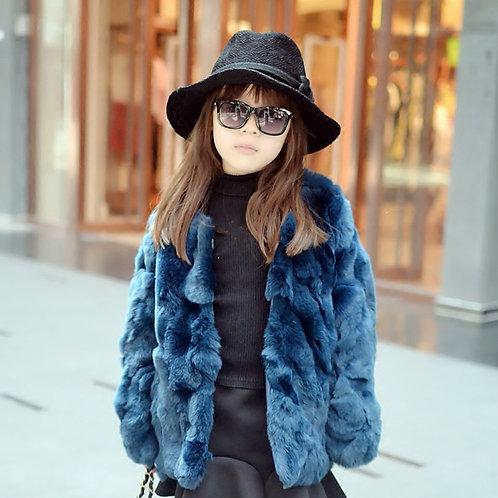 DMGC04B  Dyed Rex Rabbit Fur Children's Coat In Blue