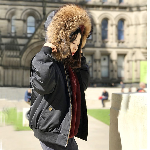 DMGP09G Faux Fur Lined Bomber With Raccoon Fur Collar