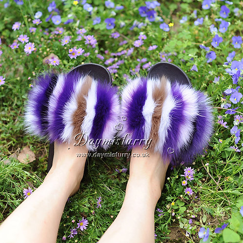 DMA99A Colorful Fox Fur Slides - Purple Rainbow