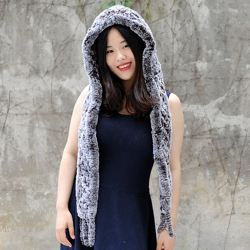 DMC17F Dyed Brown Frost Knit Rex Rabbit Fur Scarf With Hood
