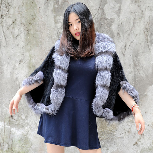DMBM13B Knitted Mink Fur Shawl With Finn Silver Fox Fur Trim