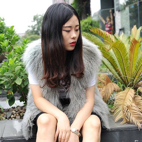 DMGB191 Mongolia Lamb Fur Vest In Grey / Black