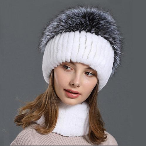DMC86A Rex Rabbit Fur Fox Fur Winter Hat and Scarf Set