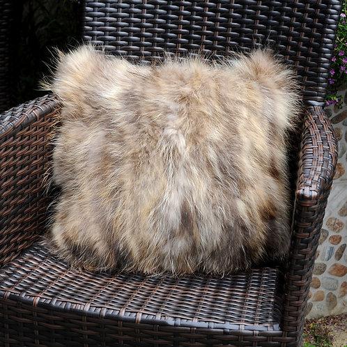 DMD71 PatchWork Raccoon Fur Pillow - Natural Color