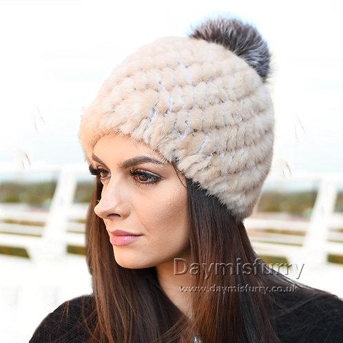 DMC206M Sunlight Mink Fur Beanie Cap Hat With Fox Fur Pom Pom