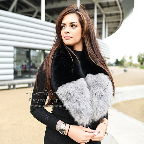 DMA94 Detachable Black Fox Fur Collar With Light Grey Tips